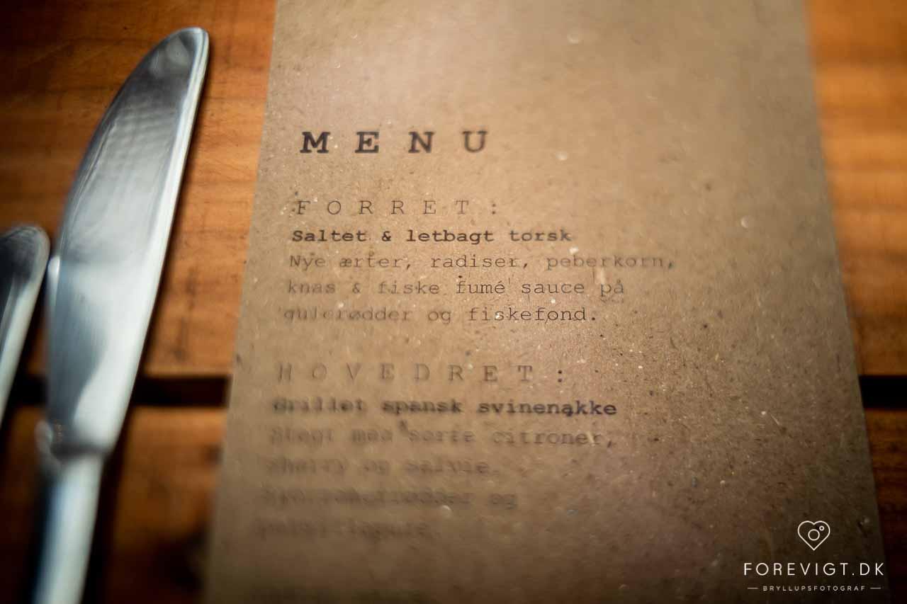menu bryllup Pladeværkstedet